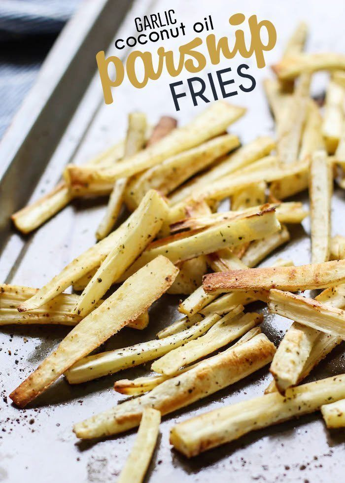 We're using a garlic infused coconut oil to make these healthy roasted parsnip…