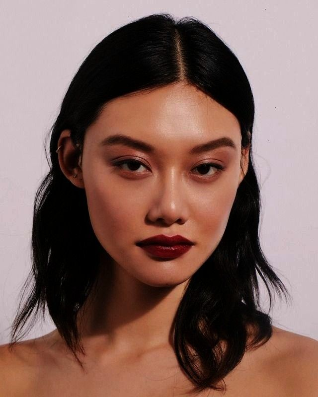 models - natural make-up and dark red lipstick. Short hair, long hair ... -  long hair models – n