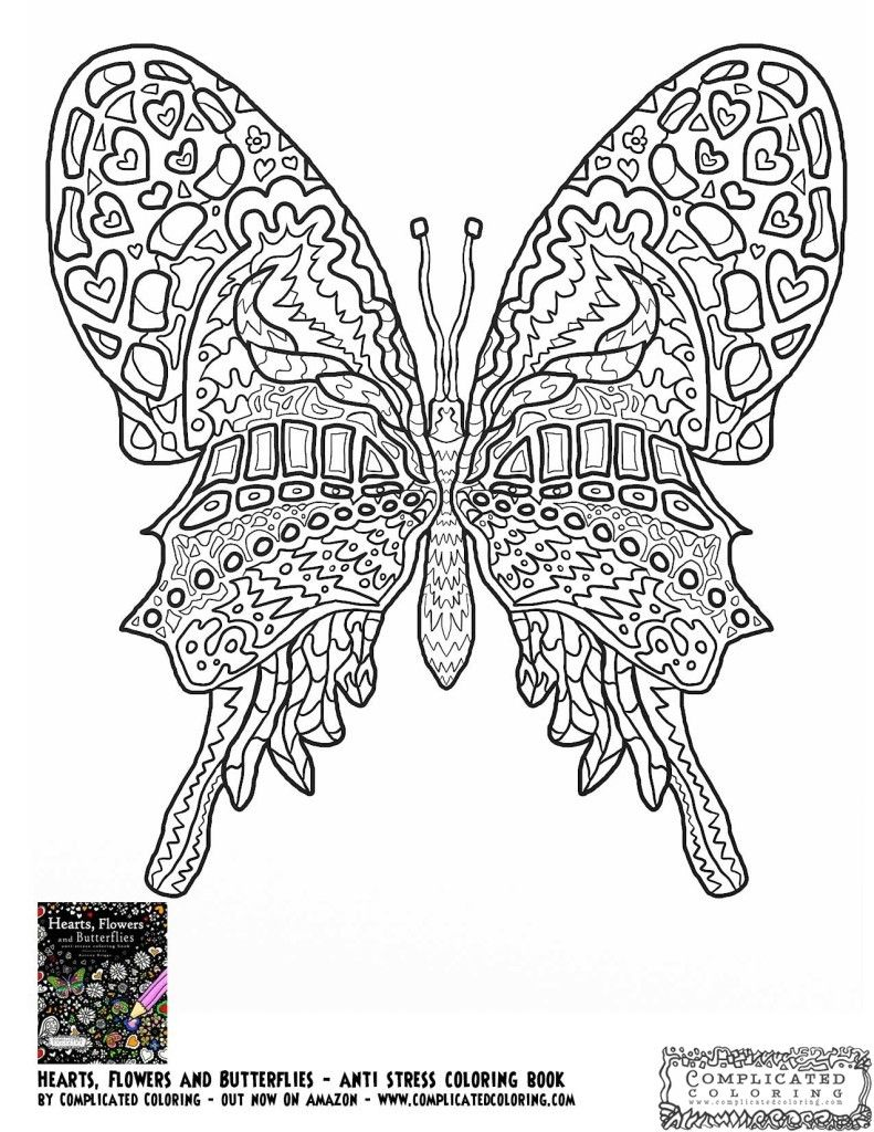 Free coloring pages butterfly - Free Printable Coloring Page Complicated Coloring