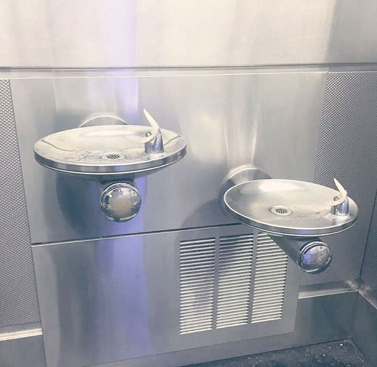 elkay swirlflo drinking fountains in the miami airport