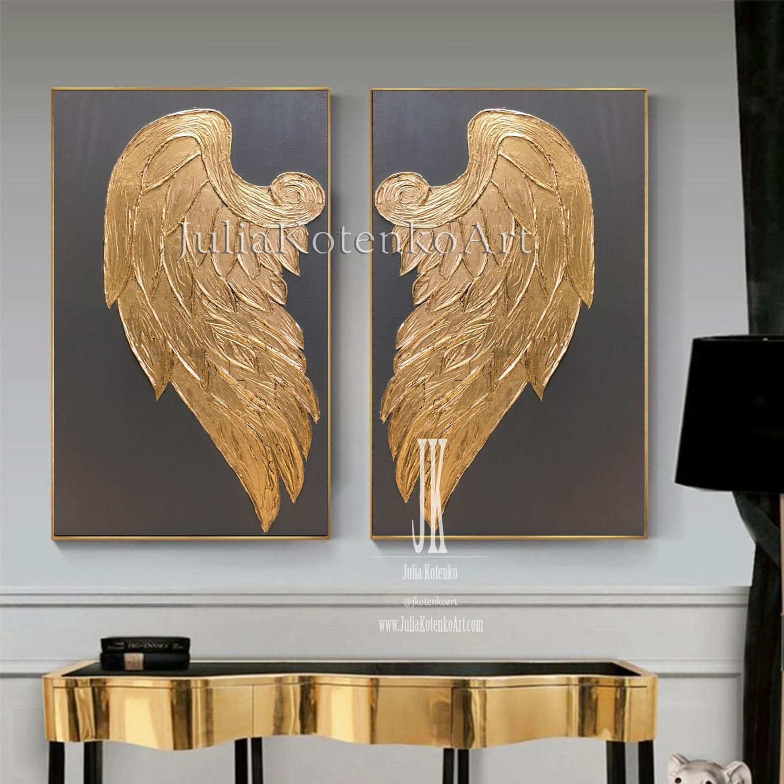 Large Angel Wings Wall Decor Gold Leaf Painting Set Of 2 Etsy In 2020 Angel Wings Wall Art Gold Leaf Painting Angel Wings Wall Decor