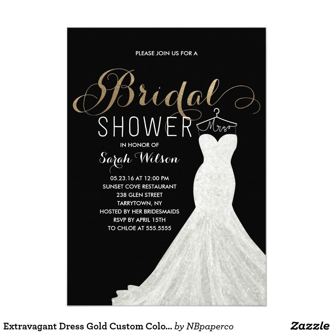 extravagant dress gold custom color bridal shower card send your guests an invite they wont forget this chic and elegant bridal shower invitation