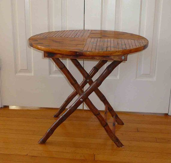 Captivating Vintage Rattan Bamboo Round Table Folding 25 By RefinedDecor