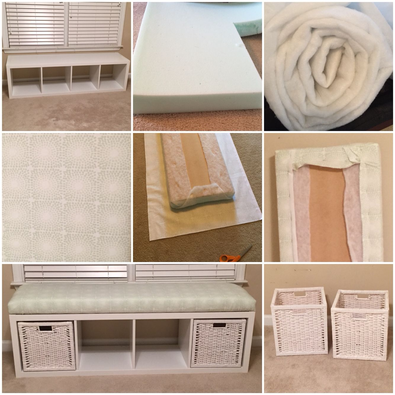IKEA hack - shelving unit turned into a window bench for ...