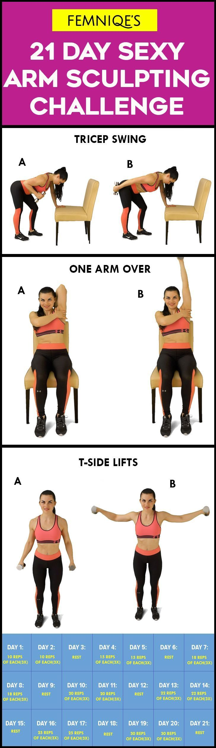 Powerful 21 Day Arm Challenge - Want sexy flabby-free arms? then give this 21 day arm sculpting challenge a shot! Make sure to take before and after pics to track your progress. This Arm fat challenge will help to toned and build sexy lean arms muscles.