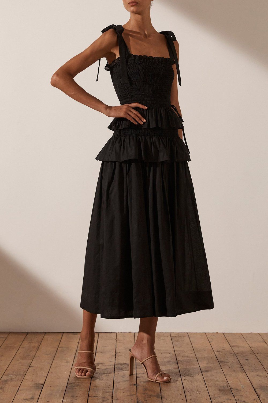 Pia Shirred Midi Dress Black In 2021 Dresses Midi Ruffle Dress Black Summer Outfits [ 1500 x 1000 Pixel ]