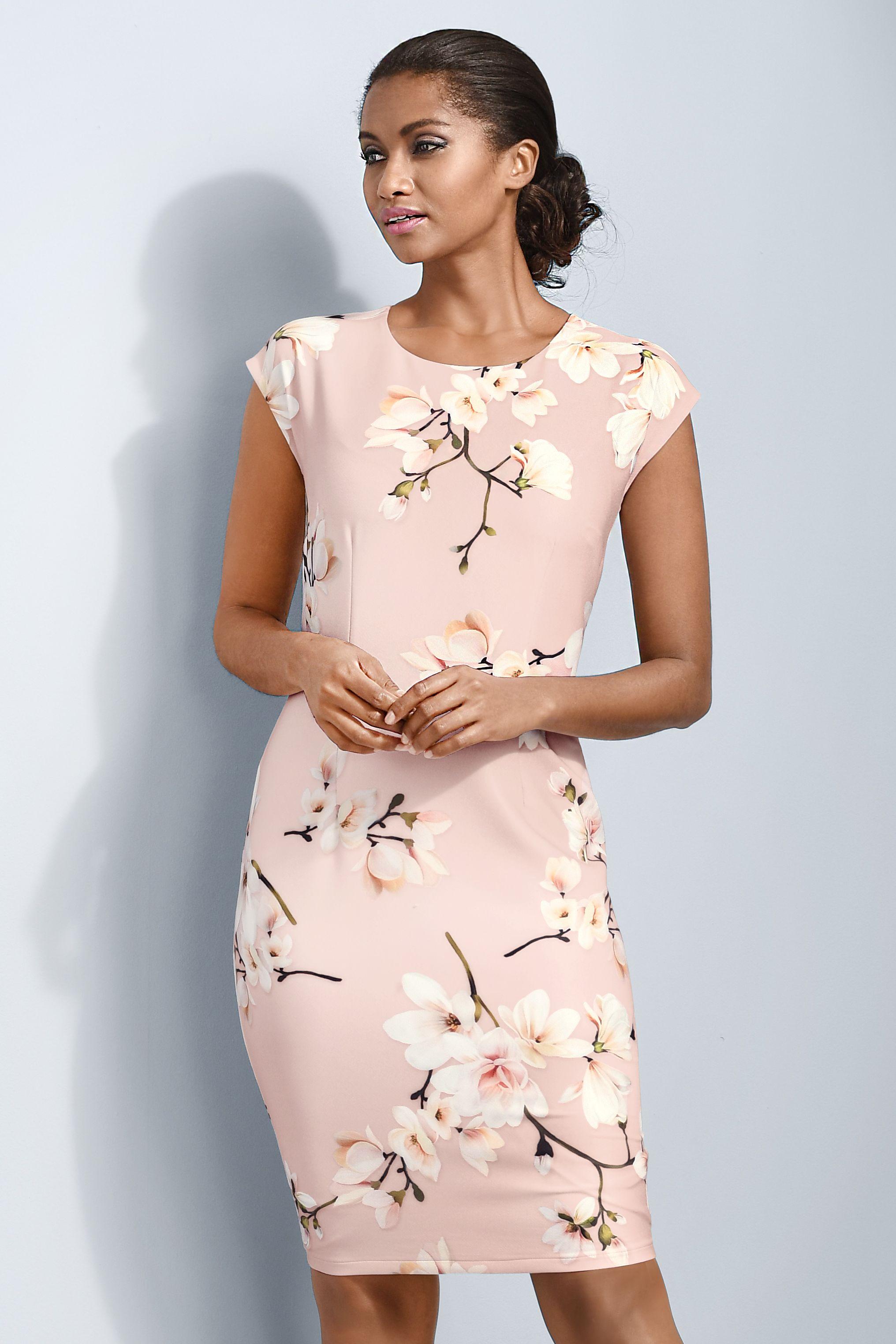 Edles figurbetontes Alba Moda Kleid im floralen Dessin mit