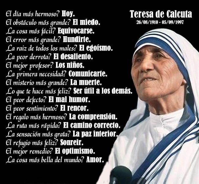 Frases Madre Teresa Cumpleaños Buscar Con Google Teresa