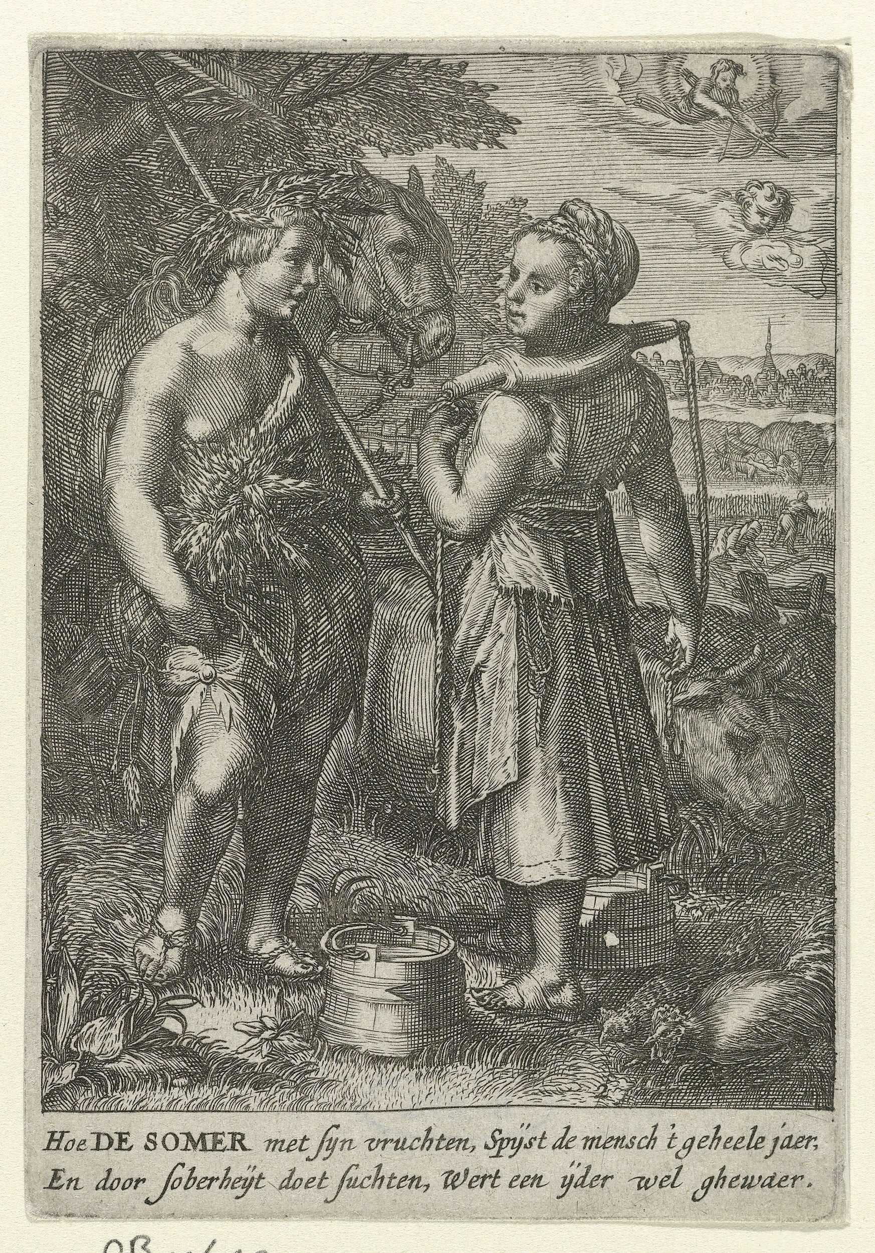 Jan Saenredam | De Zomer, Jan Saenredam, Anonymous, Hendrick Goltzius, 1601 - c. 1651 | Ontmoeting tussen een melkmeisje en boerenjongen in een landschap. Het meisje staat met een juk op haar schouders, de jongen draagt korenaren in het haar, een korenschoof onder de arm en een hark over de schouder. Achter hen een paard en een grazende koe. In de lucht vliegt Amor met pijl en boog.