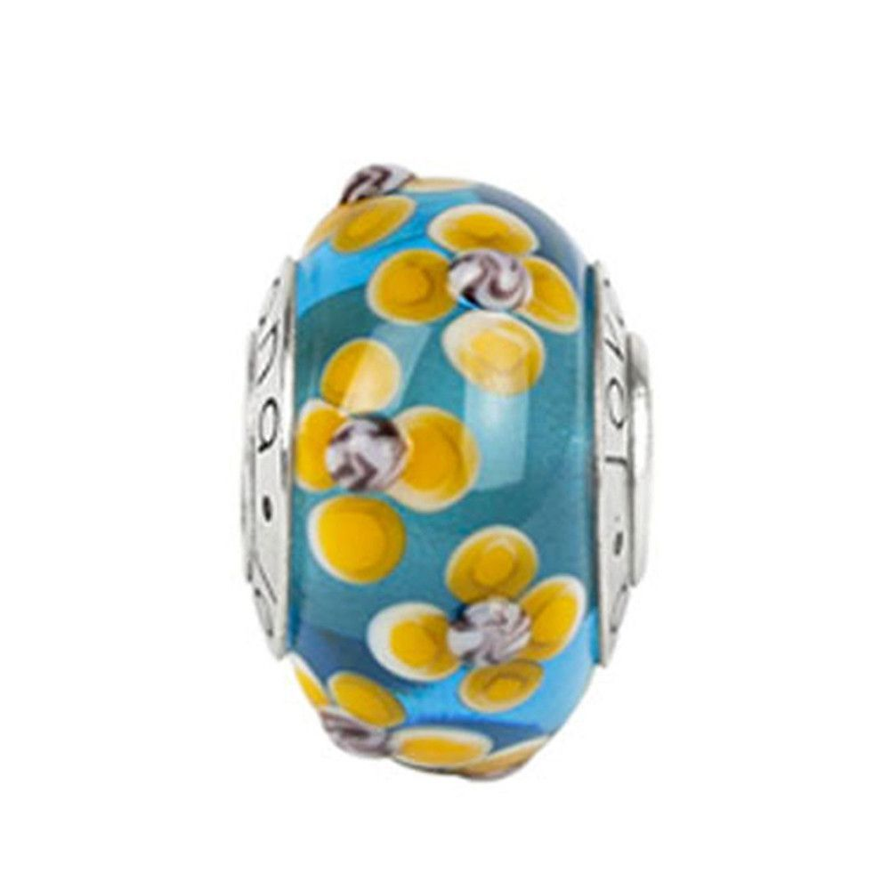 Murano Glass Bead Blue with Golden Yellow Flower on Sterling Silver