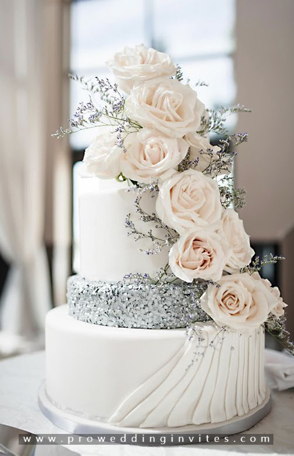 24 Fab Glittery And Sparkling Wedding Cake Ideas For 2020 Glitter Wedding Cake Wedding Cake Roses Silver Wedding Cake