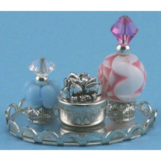 Dollhouse Miniature  Chrysnbon Mirrored Silver Tray