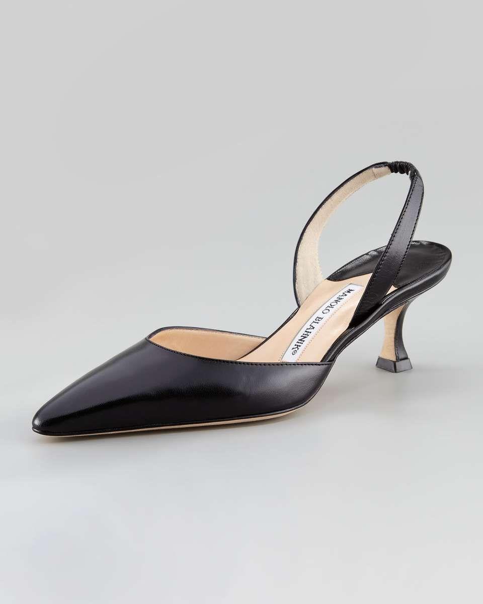 Black leather sandals low heel - Love The Manolo Blahnik Kidskin Low Heel Halter Black On Wantering Winter Fashion
