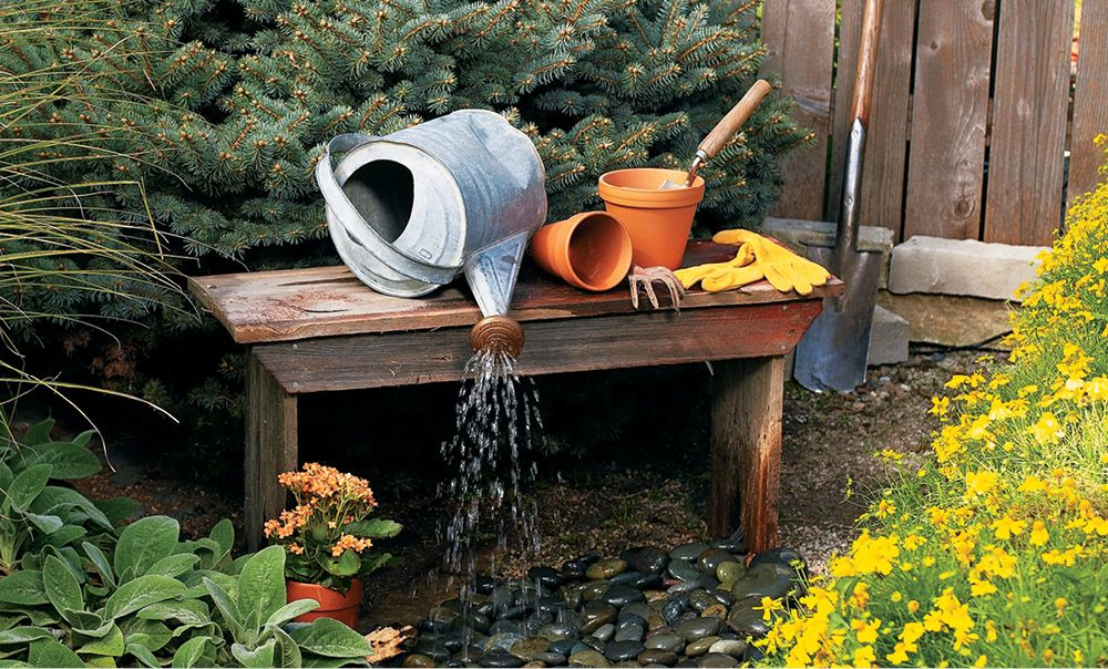 interesting feature water garden waterfall | Create a fun water feature that adds surprise and appeal ...