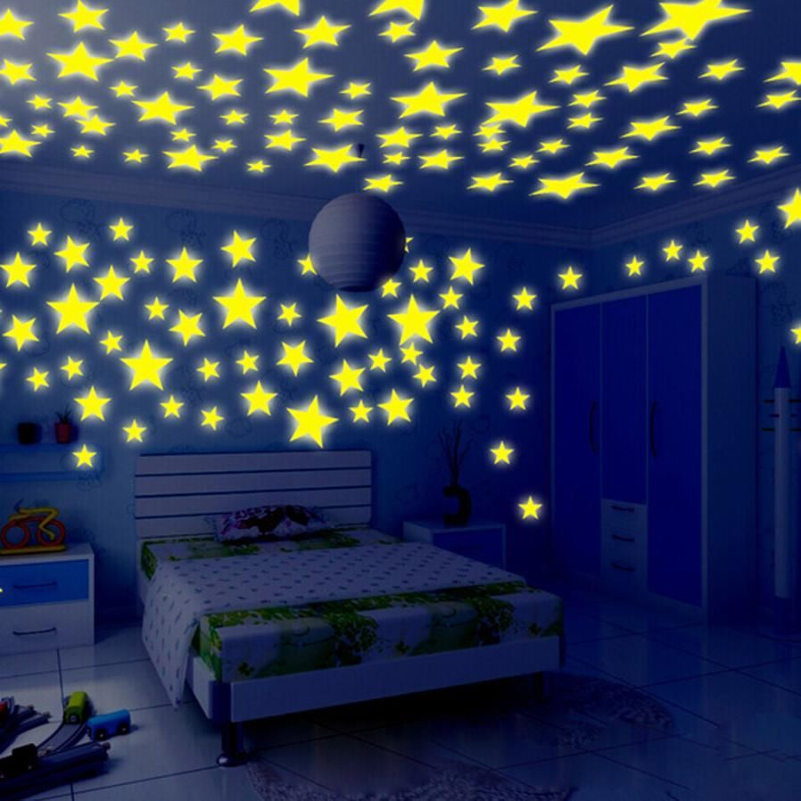Four Color 100PCS 3D Home Wall Ceiling Glow In The Dark Stars with Moon Stickers