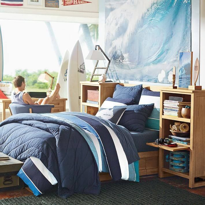 Kelly Slater Organic Point Break Quilt + Sham // Bring the ripples of point-break waves to your room with this organic cotton quilt filled with recycled batting. Exclusively designed with 11-time world surfing champ Kelly Slater, it brings authentic surfer style indoors.