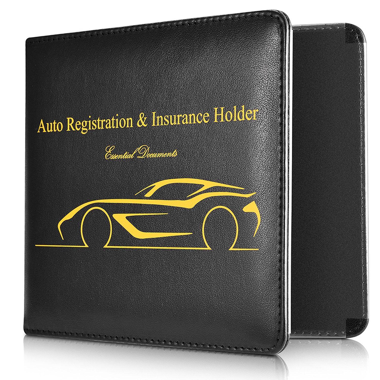 Basenor car document holder slim leather water resistant