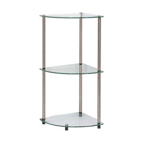 Convenience Concepts 3 Tier Glass Corner Shelf