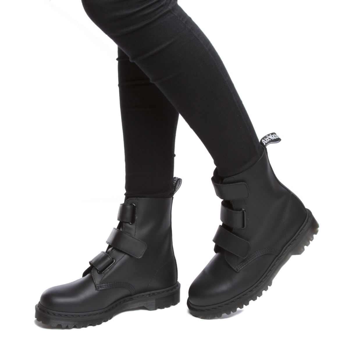 the best low cost discount coupon womens dr martens black dm coralia 3 velcro strap boot boots ...