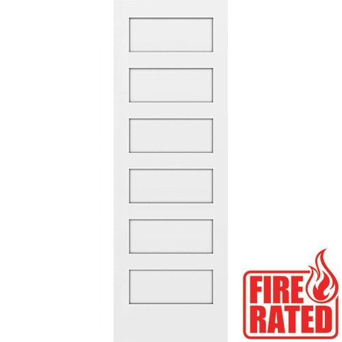 Fire Rated 80 Tall 6 Panel Shaker Primed Interior Wood Door Slab