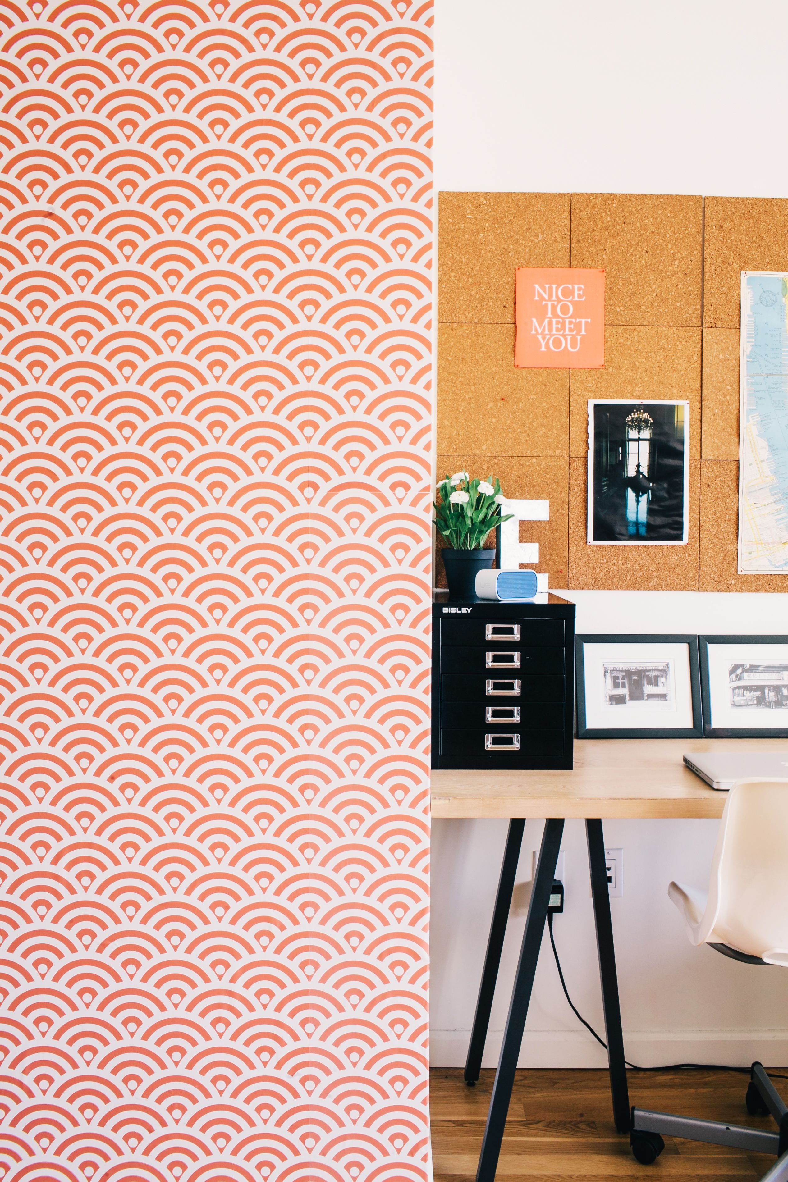 POP of orange!  Make your office pop with removable wallpaper from www.chasingpaper.com