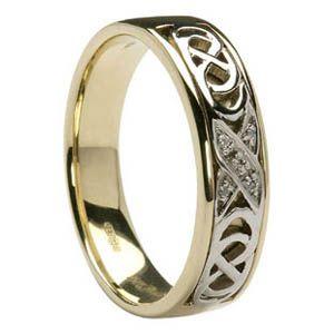 14K Diamond Celtic Kiss Wedding Ring