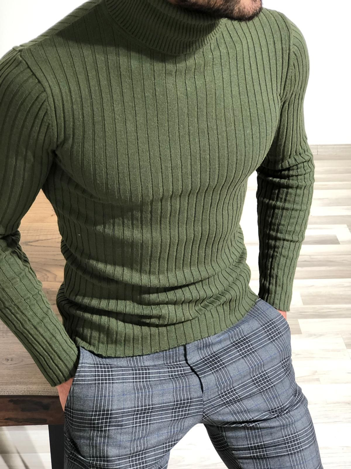 49cc6a8dc9f Nige Striped Slim Fit Turtleneck Sweater – Khaki in 2019 | Spring ...