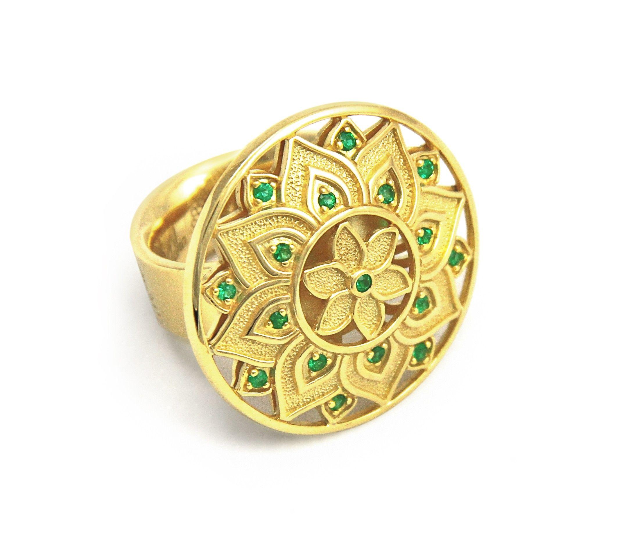 Gold Fine Jewelry Designers Gold Emerald Mandala Ring BUDDHA