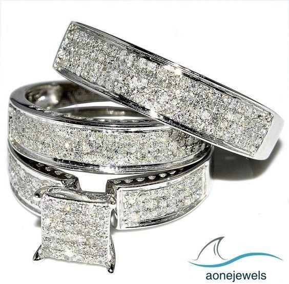 Trio Wedding Rings Set W Diamonds White Gold Princess Cut Style Round Pave