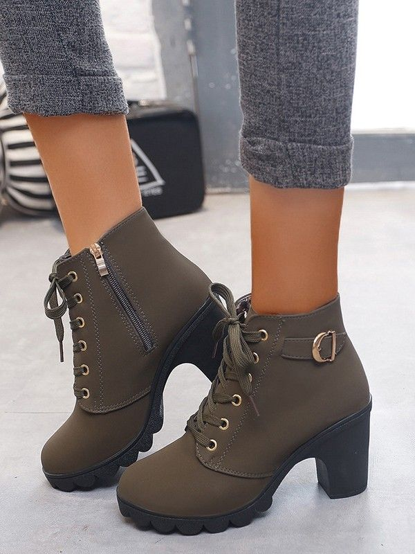 Army Green Round Toe Chunky Cross Strap Fashion Ankle Boots - Boots - Shoes