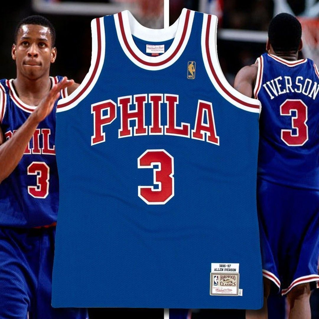 c6592c6da Bring your vintage NBA game to Allen Iverson Swingman Vintage Throwback  Jersey by Mitchell and Ness