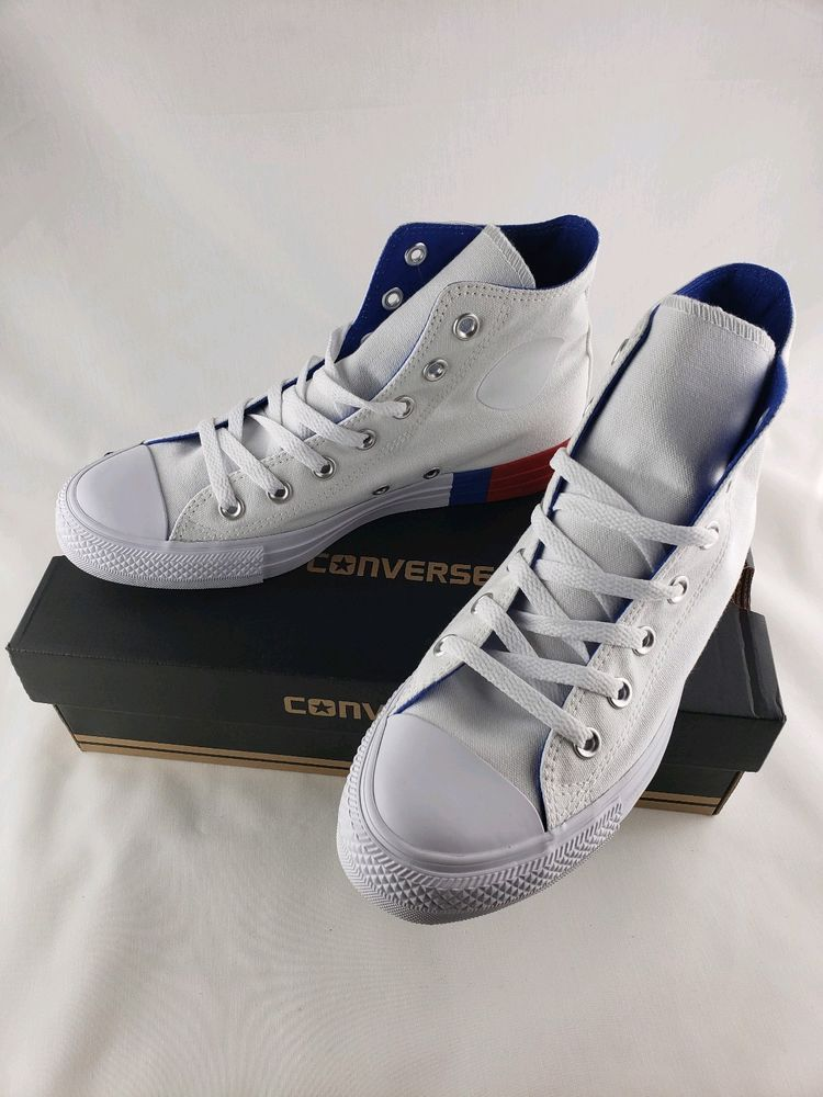 39d6038068 Converse Chuck Taylor All Star Hi Unisex Shoes White Red Blue 159639F Mens 6