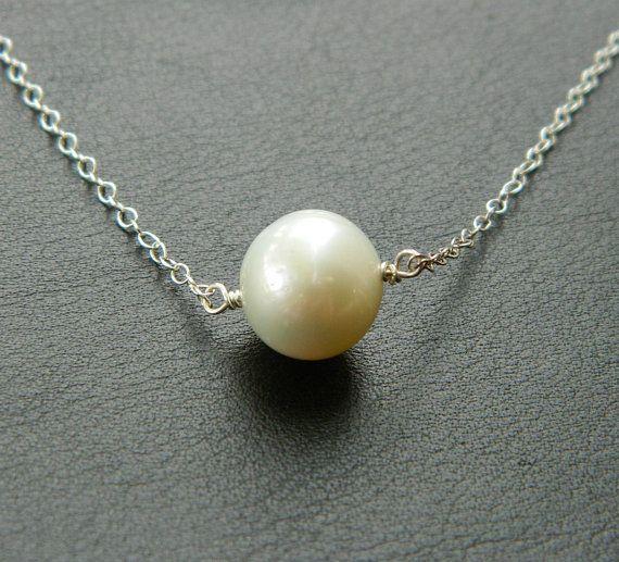 Bridesmaid Pearl Necklace, Silver Single Pearl, Minimal Jewelry, Weddings, Bridesmaid Jewelry, Flower girl, Children, Kids Jewelry, Simple