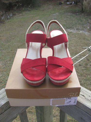 Women's Paolo Red Wedge Sandals JC Penney EUC!!!!! Size 11