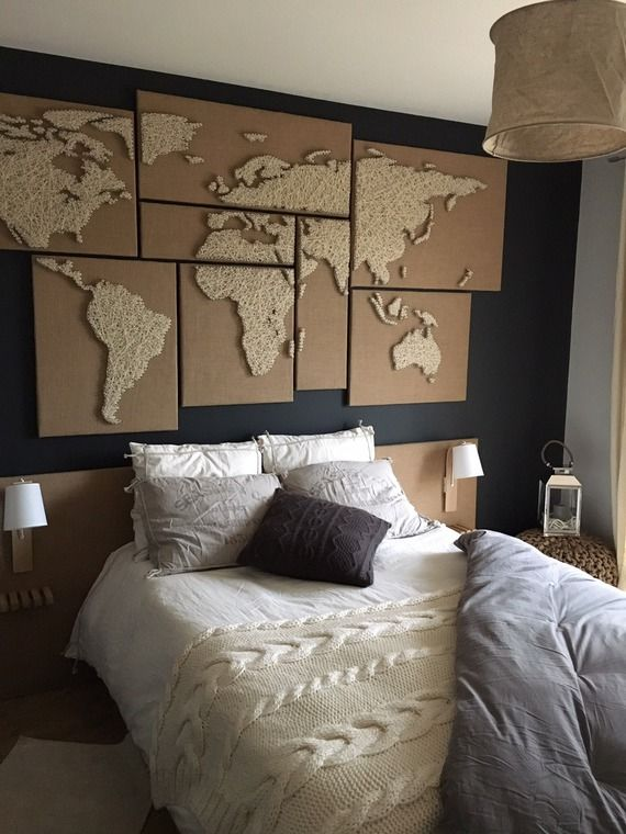 map monde en laine tendue et toile de jute pinteres. Black Bedroom Furniture Sets. Home Design Ideas