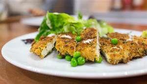 Chicken schnitzel with Caesar salad is an easy, crowd-pleasing dinner