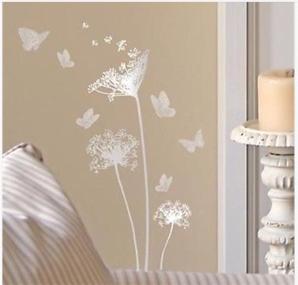 Silver Main Street Wall Creations Dandelions Butterflies Wall Stickers Decals Butterfly Wall Decals Wall Creations Wall Stickers