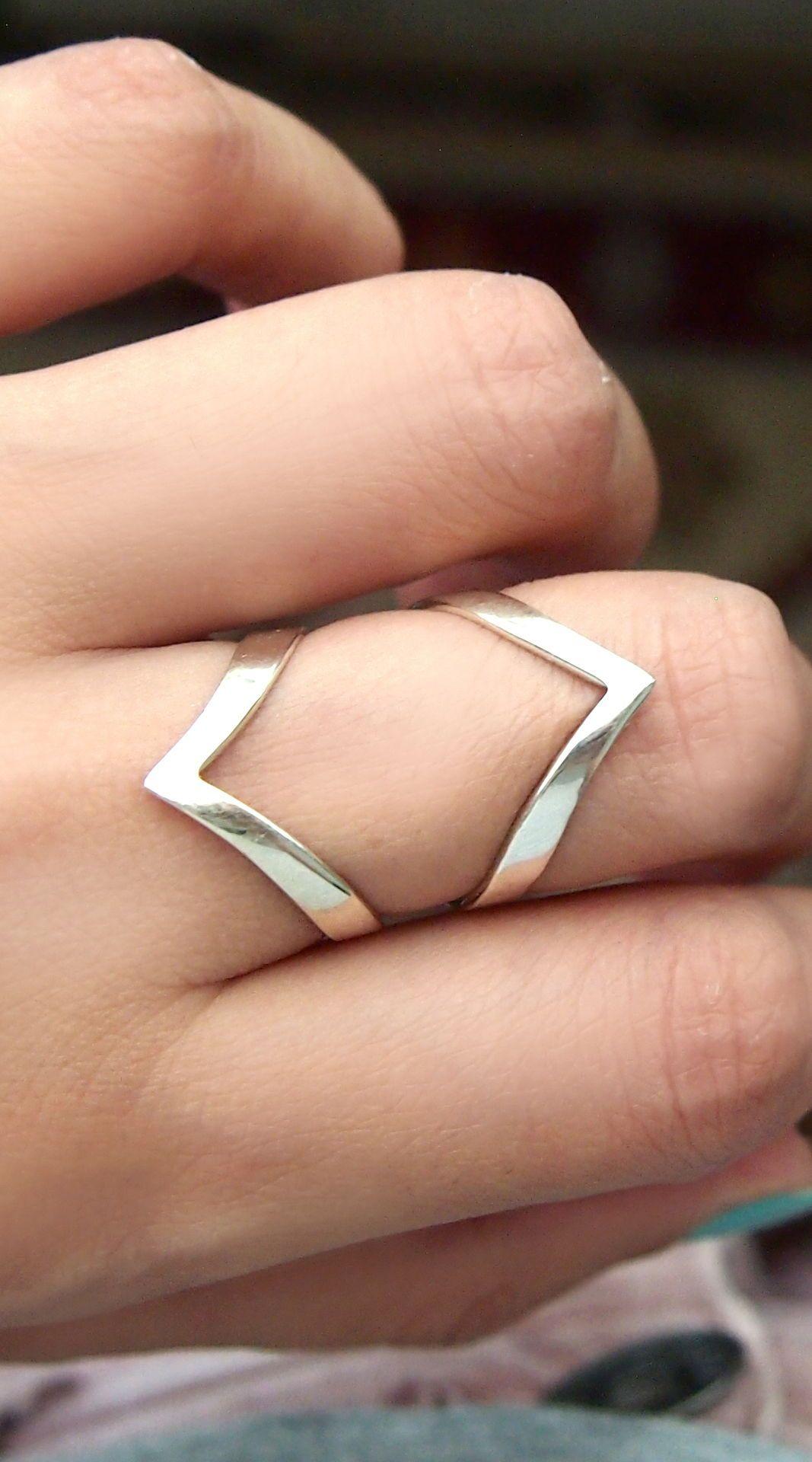 Triangle silver ring chevron silver ring geometric silver ring. minimalist silver ring