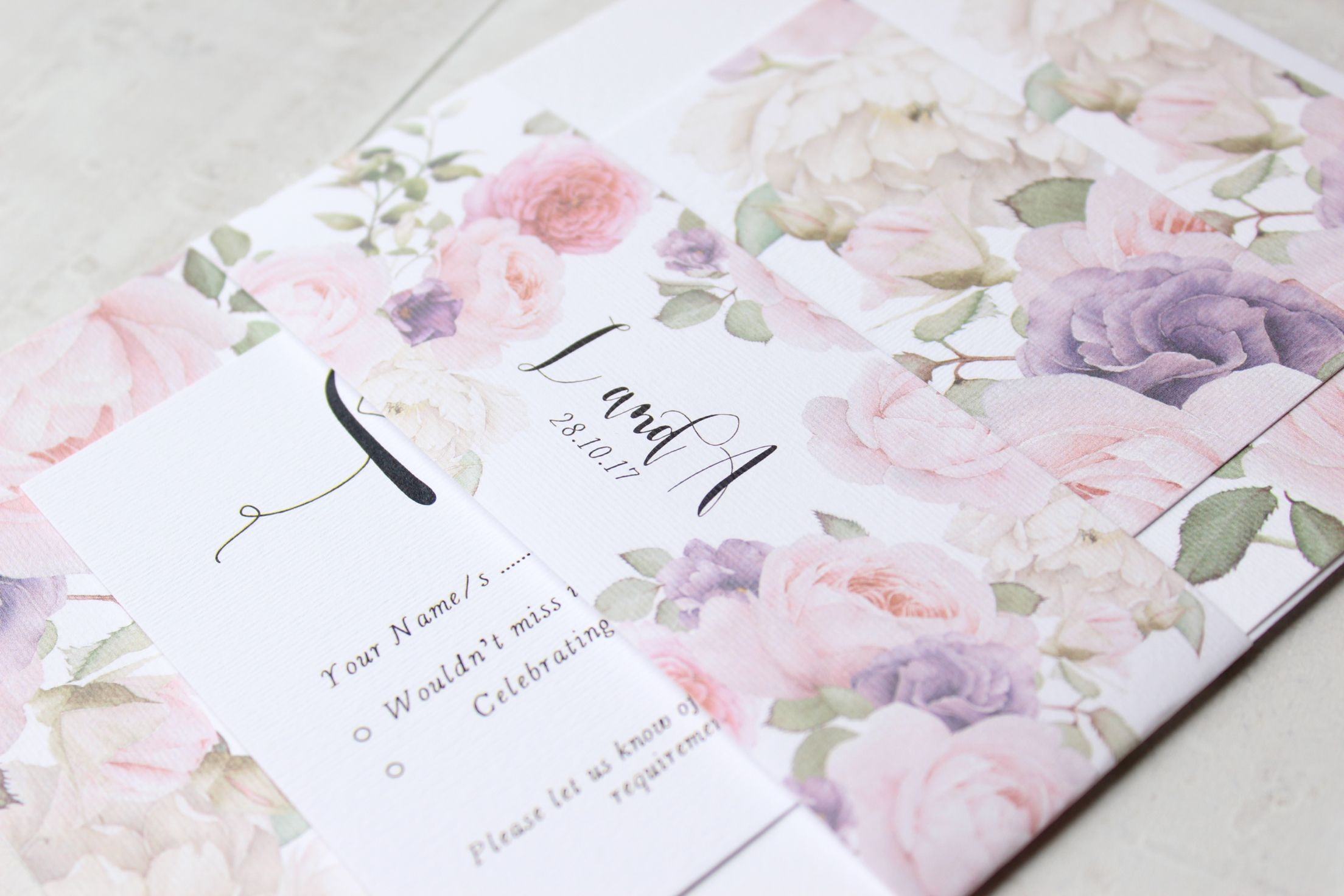 Summer Garden is a pretty floral inspired collection featuring delicate pink roses to set the tone for your big day.