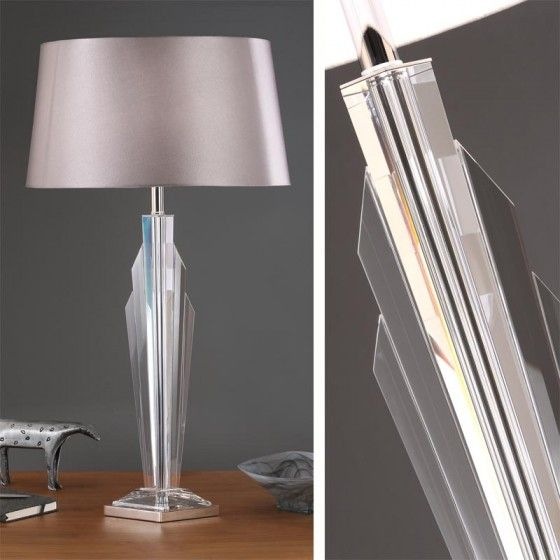 Gatsby Table Lamp With Grey Faux Silk Shade A Stunning Crystal Very