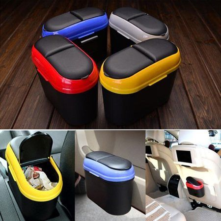 Car Bin Double-opening Trash Can Car Trash Storage Box Can Be Attached to Paste Convenient Garbage Can Automobile Dustbin Car Accessories - Walmart.com