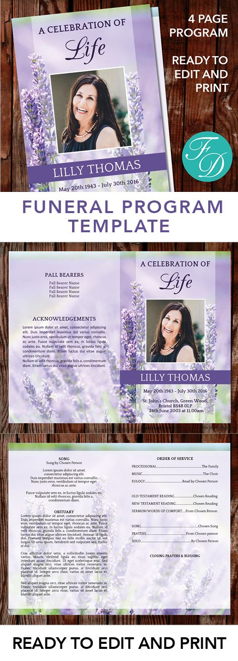 Floral Funeral Program Templates by Funeral Designs | Funeral ...