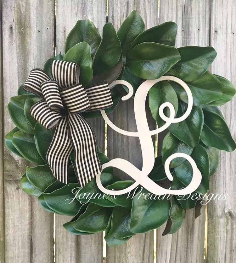Photo of Magnolia leaf wreath with initial