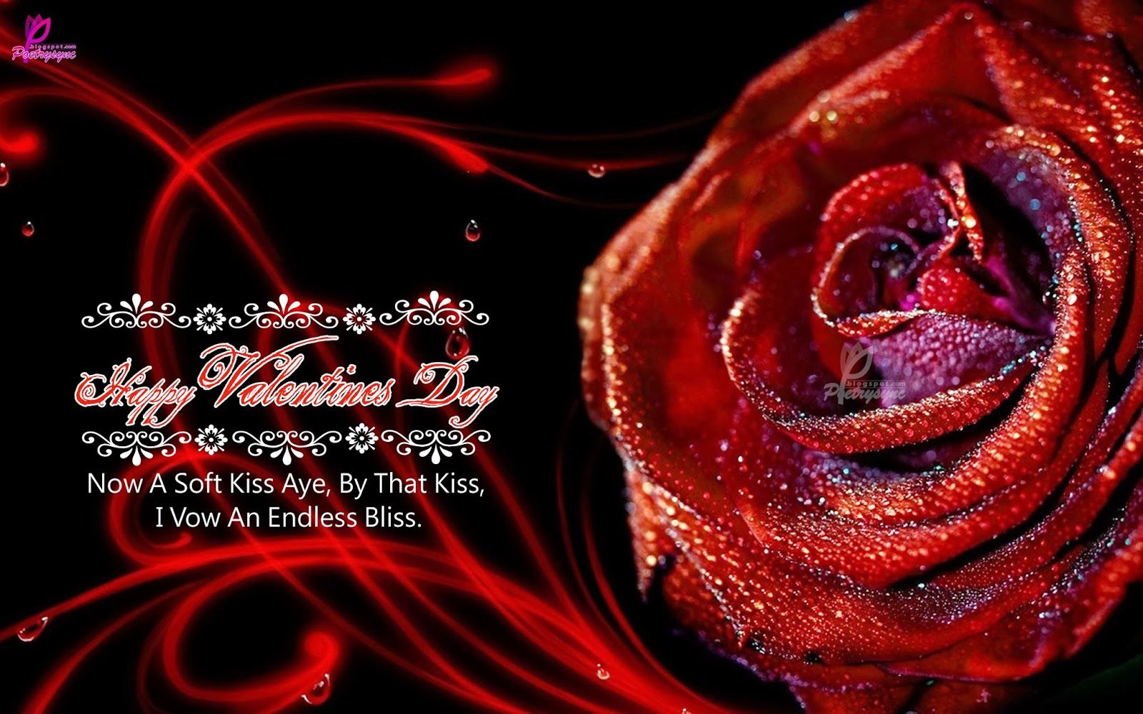 Happy Valentines Day Wishes Ecard Beautiful Red Rose For Lover