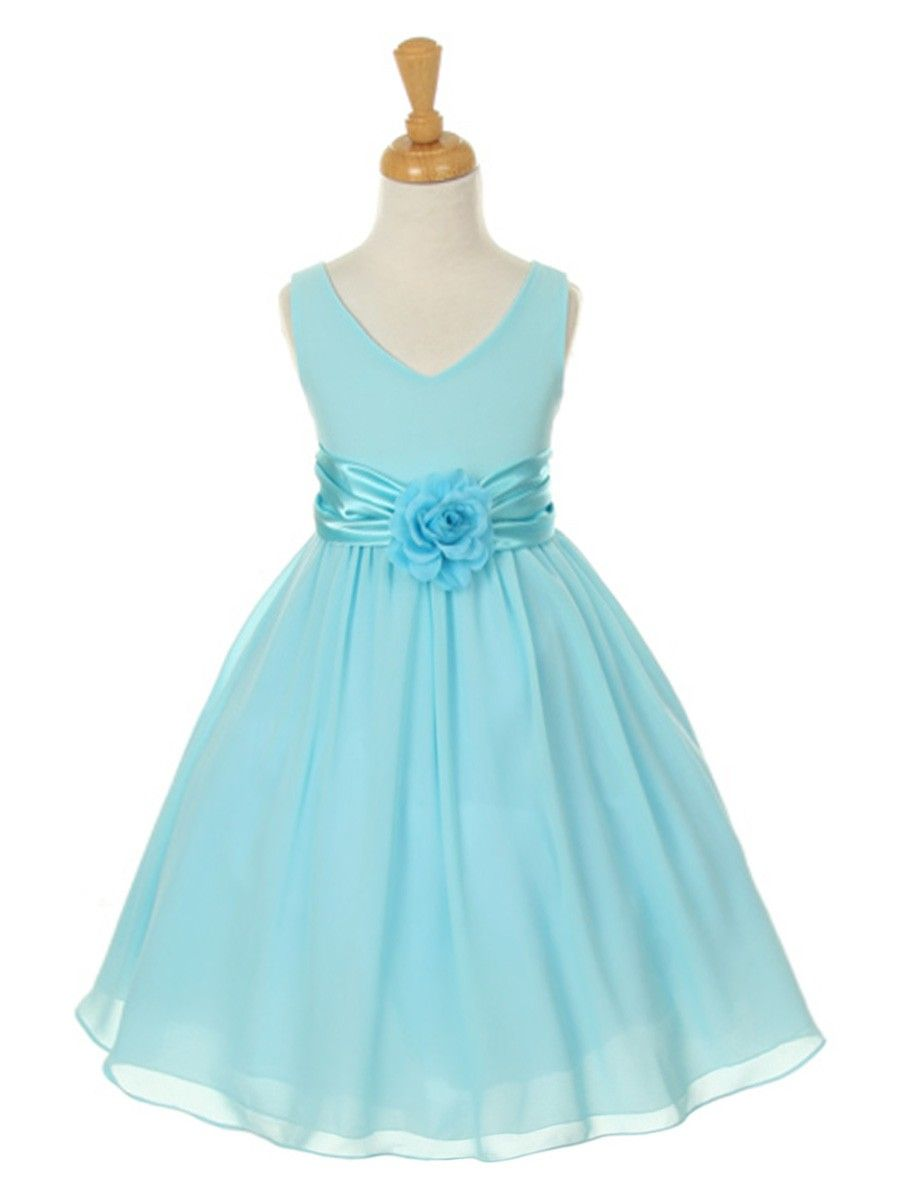 Pale Turquoise Flower Girl Dress In Georgette From Prettyflowergirl