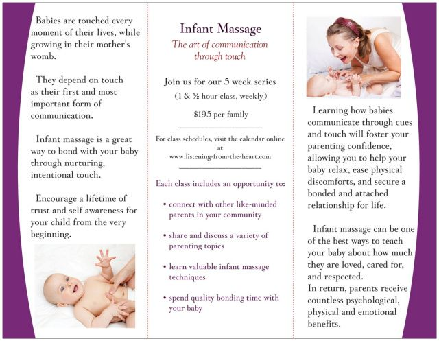 Beautiful Infant Massage Brochure  Infant Massage