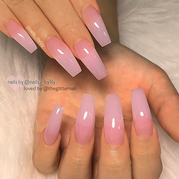 "💎 TheGlitterNail on Instagram: ""✨ REPOST - - • - - Sheer Pink on long Coffin Nails ✨👌 - - • - - 💅 Nail Design by @nails__bylily 💖 Follow her for more gorgeous nail art…"""