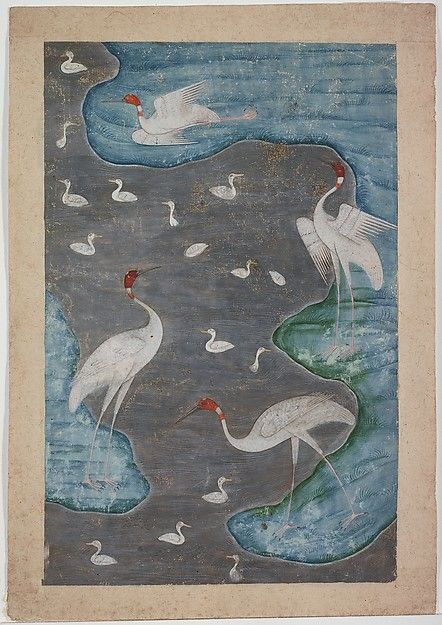 Birds in a Silver River Object Name: Single Work, Illustrated Date: late 17th century Geography: India, Deccan, probably Aurgangabad Culture: Islamic Medium: Ink, opaque watercolor, and silver on paper