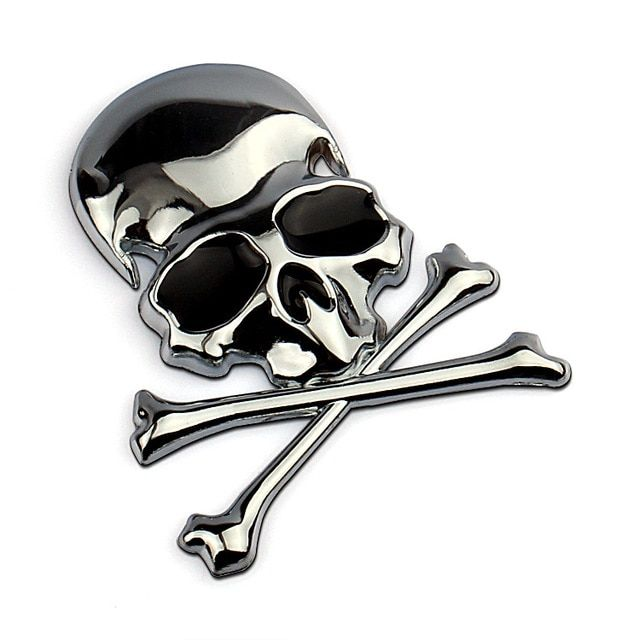3D Skull Metal Skeleton Crossbones Car Sticker Label Skull Badge Emblem