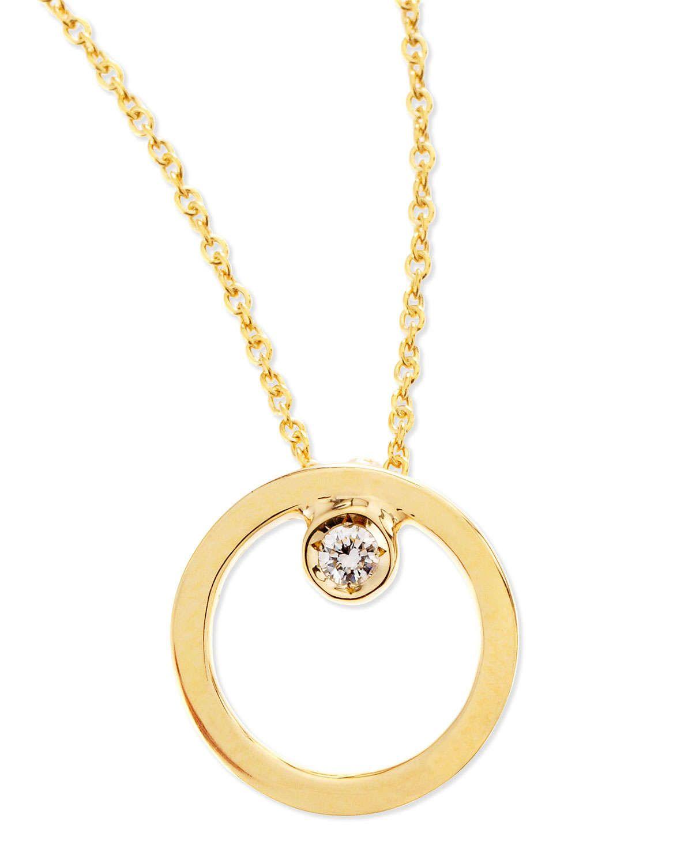 Roberto Coin 18k Yellow Gold Circle Single Diamond Necklace Single Diamond Necklace Diamond Circle Pendant Diamond Necklace